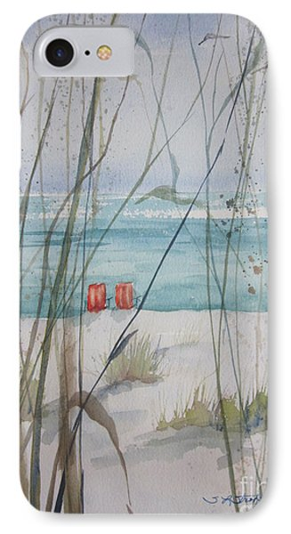 IPhone Case featuring the painting Two Orange Chairs by Sandra Strohschein