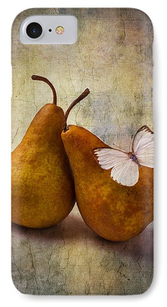 Two Pears And White Butterfly IPhone Case by Garry Gay