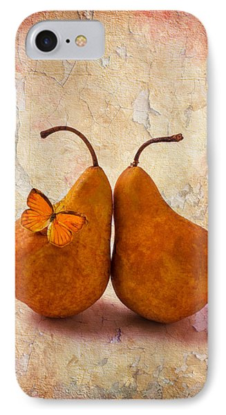 Two Pears With Butterfly IPhone Case by Garry Gay
