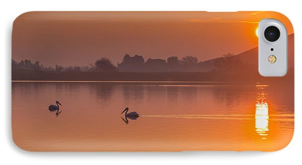 Two Pelicans At Sunrise IPhone Case by Marc Crumpler