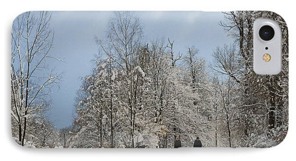 Two People Doing A Walk In Beautiful Forest In Winter Phone Case by Matthias Hauser