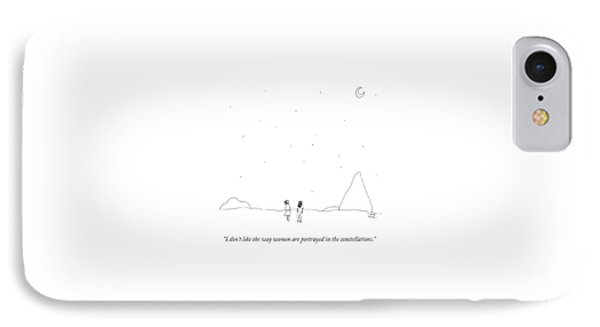 Two People Look At The Stars IPhone Case by Liana Finck