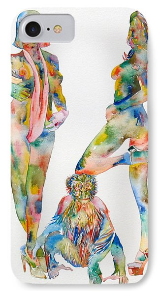 Two Psychedelic Girls With Chimp And Banana Portrait Phone Case by Fabrizio Cassetta