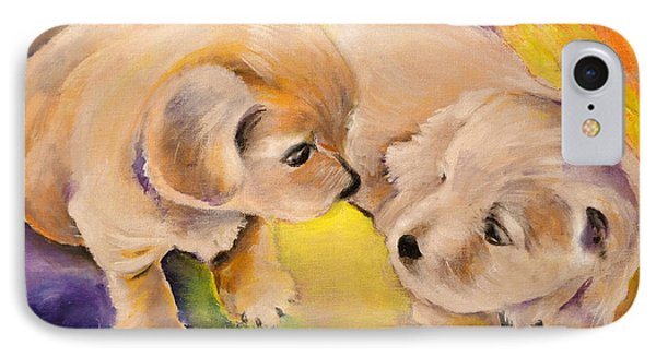 Two Puppies IPhone Case by Miki De Goodaboom
