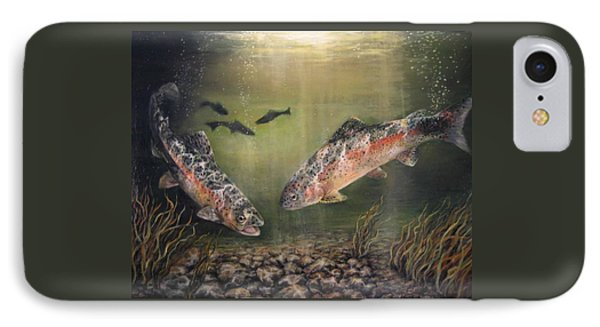 Two Rainbow Trout IPhone Case by Donna Tucker