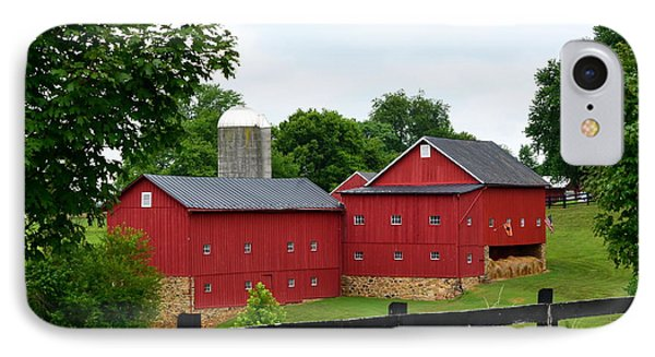 IPhone Case featuring the photograph Two Red Barns by Cathy Shiflett