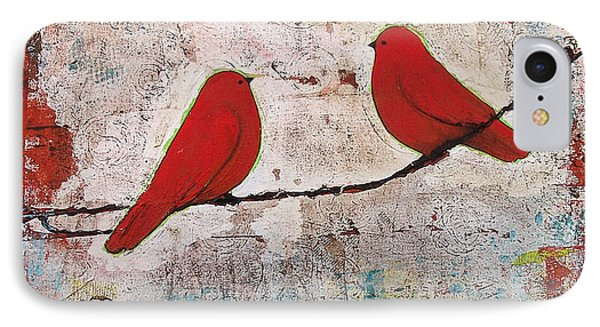 Two Red Birds On A Wire IPhone Case by Blenda Studio