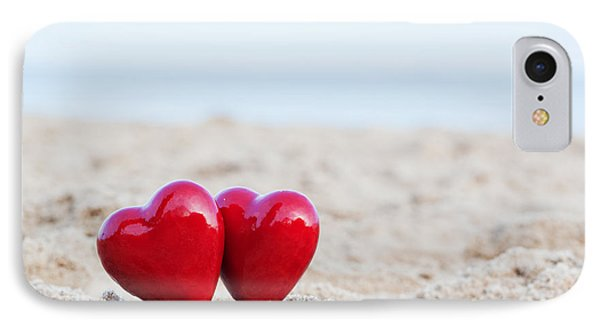 Two Red Hearts On The Beach Symbolizing Love IPhone Case