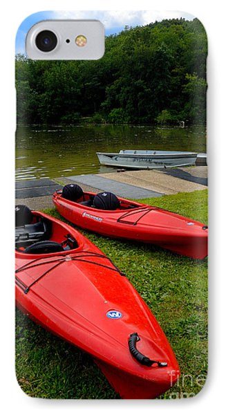 Two Red Kayaks Phone Case by Amy Cicconi