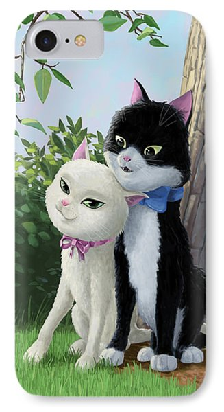 Two Romantic Cats In Love Phone Case by Martin Davey
