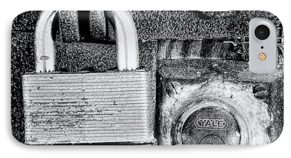 Two Rusty Old Locks - Bw IPhone Case