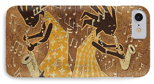 Two Sax Players Phone Case by Katherine Young-Beck