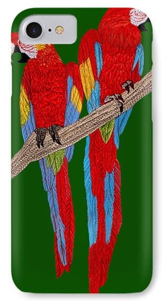 Two Scarlet Macaw IPhone Case by Walter Colvin