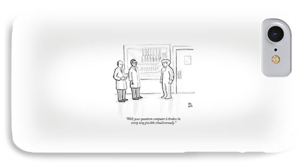 Two Scientists Speak To A Man In A Hazmat Suit IPhone Case by Paul Noth