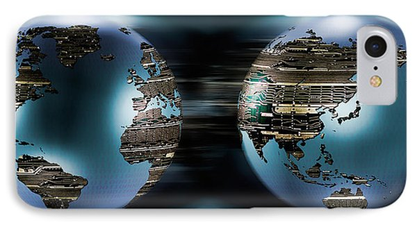 Two Sides Of Earths Made Of Digital IPhone Case by Panoramic Images
