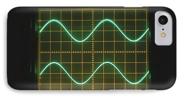 Two Sine Waves On Oscilloscope Screen IPhone Case by Dorling Kindersley/uig