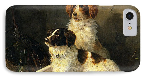 Two Spaniels Waiting For The Hunt Phone Case by Henriette Ronner Knip