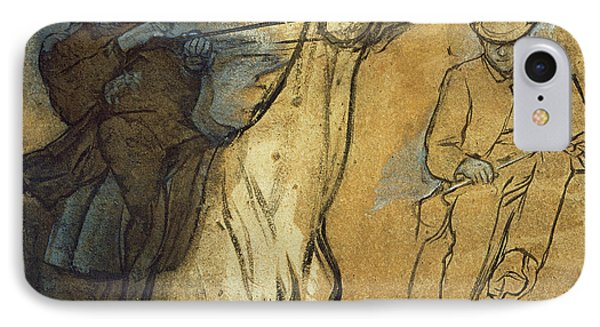Two Studies Of Riders IPhone Case by Edgar Degas
