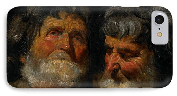 Two Studies Of The Head Of An Old Man IPhone Case by Jacob Jordaens