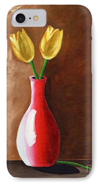 IPhone Case featuring the painting Two Tulips And A Pink Rose by Laura Forde
