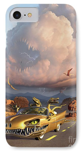 Two Velociraptors In Their Scary Car IPhone Case by Jerry LoFaro