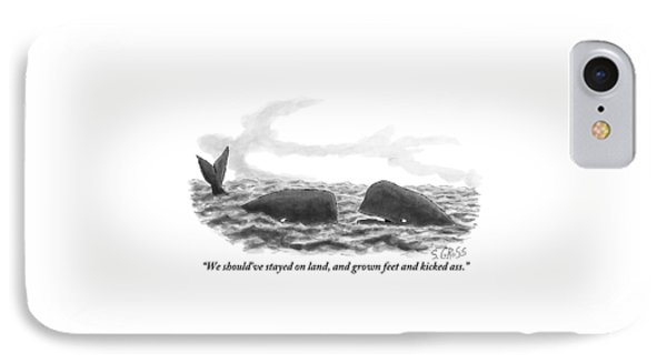 Two Whales Are Seen In Water In Conversation IPhone Case by Sam Gross