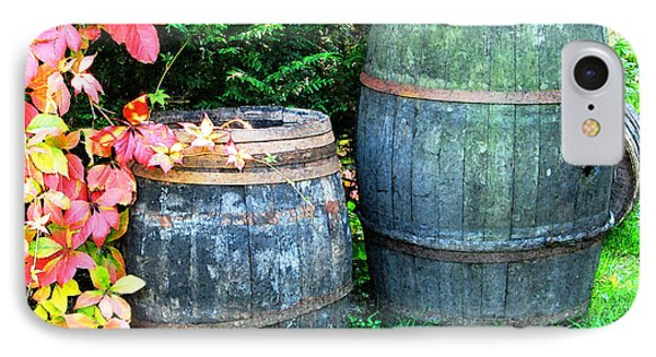 Two Wine Barrels And Red Ivy Digital Print Phone Case by Greg Matchick