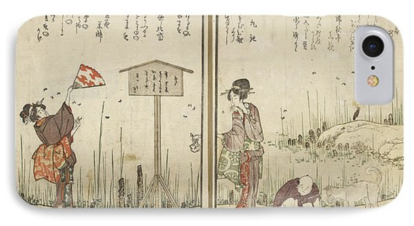 Two Women A Man And A Dog IPhone Case by British Library