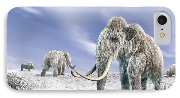Two Woolly Mammoths In A Snow Covered IPhone Case