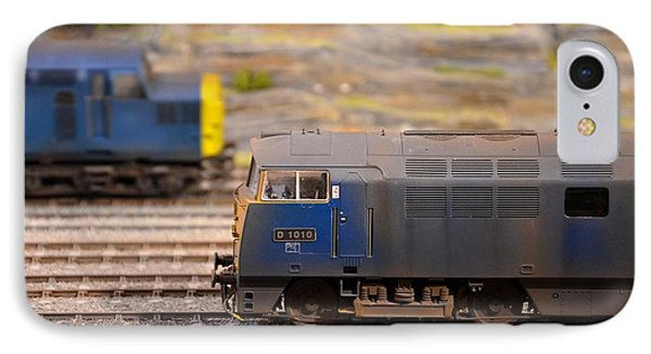 IPhone Case featuring the photograph Two Yellow Blue British Rail Model Railway Train Engines by Imran Ahmed