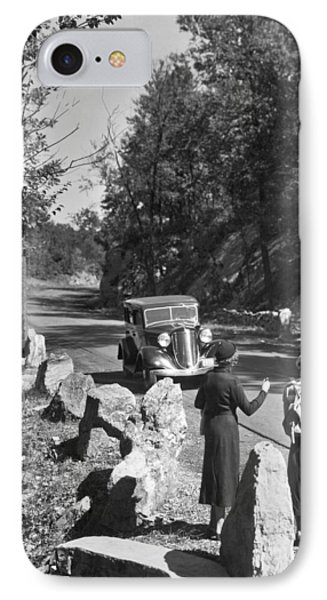 Two Young Women Hitchhiking IPhone Case by Underwood Archives
