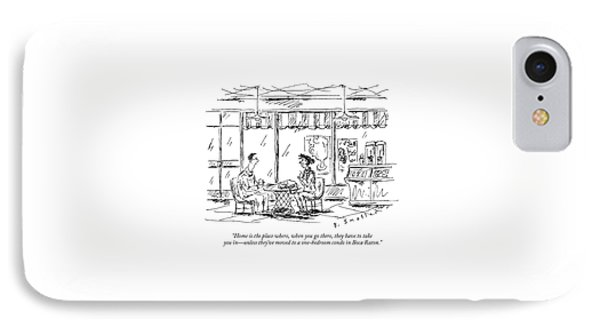 Two Younger People Speak At A Coffee Shop IPhone Case