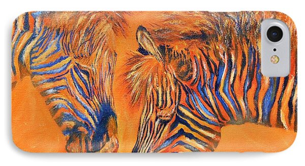 Two Zebras IPhone Case by Maris Sherwood