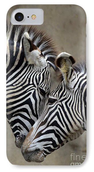 Two Zebras IPhone Case by Mark Newman