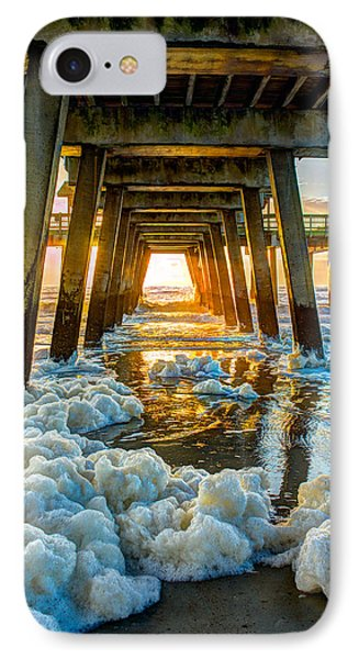 Tybee Island Pier Sunrise Seafoam IPhone Case by Reid Callaway