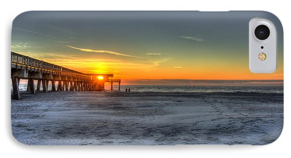 Tybee Island Pier Sunrise Watchers IPhone Case by Reid Callaway