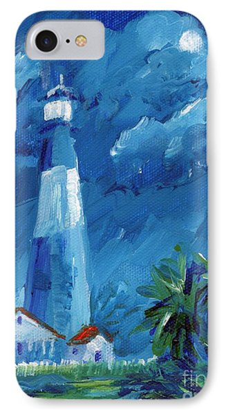 IPhone Case featuring the painting Tybee Lighthouse Night Mini by Doris Blessington
