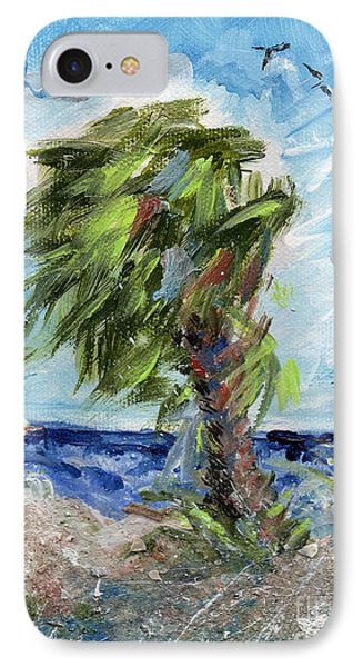 IPhone Case featuring the painting Tybee Palm Mini Series 1 by Doris Blessington