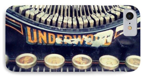 #typewriter #steampunk #writing IPhone Case by Devin Muylle