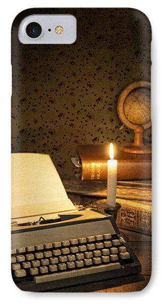 Typewriter With Globe Phone Case by Amanda Elwell