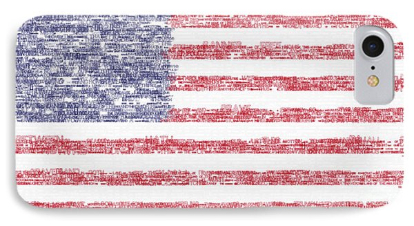 Star Spangled Banner Typography Us Flag IPhone Case by Celestial Images