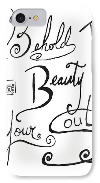 Typography Black And White Word Art Unique And Whimsical Drawing By Megan Duncanson IPhone Case by Megan Duncanson