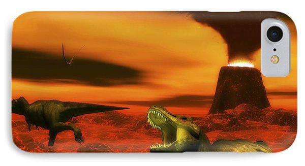 Tyrannosaurus Rex Dinosaurs Struggle IPhone Case by Elena Duvernay
