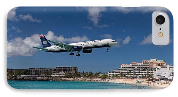 U S Airways Low Approach To St. Maarten IPhone Case by David Gleeson