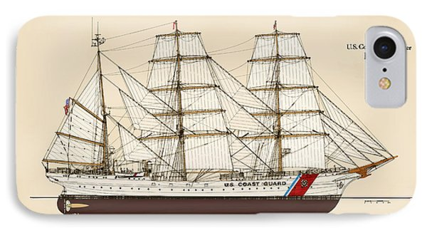 U. S. Coast Guard Cutter Eagle - Color IPhone Case by Jerry McElroy - Public Domain Image