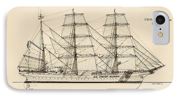 U. S. Coast Guard Cutter Eagle - Sepia IPhone Case by Jerry McElroy - Public Domain Image