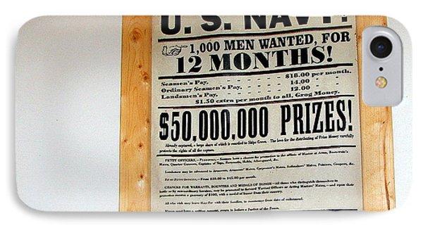 U. S. Navy Men Wanted IPhone Case by Pamela Hyde Wilson