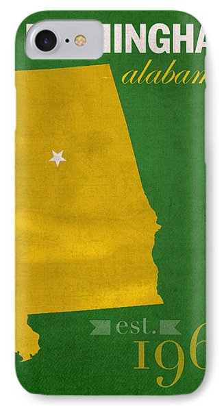 Uab University Of Alabama At Birmingham Blazers College Town State Map Poster Series No 009  IPhone Case by Design Turnpike
