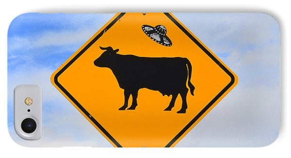 Ufo Cattle Crossing Sign In New Mexico Phone Case by Catherine Sherman