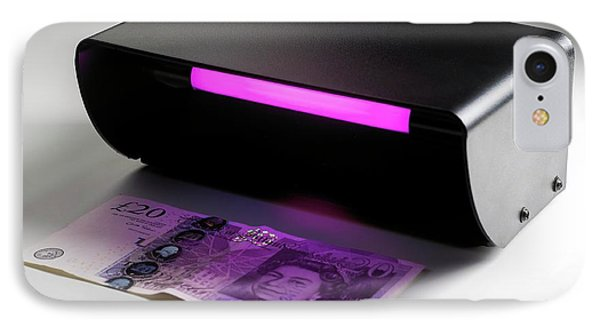 Ultraviolet Banknote Checker IPhone Case by Science Photo Library